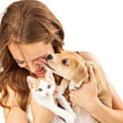 Happy Girl With Kitten And Affectionate Puppy Poster