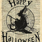 Happy Halloween Witch With Broom Dictionary Artwork Poster