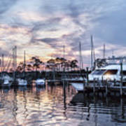 Happy Hour Sunset At Bluewater Bay Marina, Florida Poster