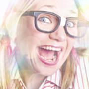 Happy Nerd Girl Singing Karaoke And Dancing Poster