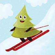 Happy Pine Tree On Ski Poster