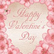 Happy Valentine Pink Heart Poster