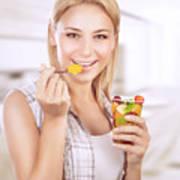 Happy Woman Eat Fruit Salad Poster