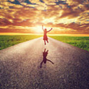 Happy Woman Jumping On Long Straight Road Poster