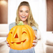 Happy Woman On Halloween Party Poster
