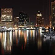 Harbor Nights - Baltimore Skyline Poster