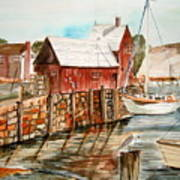 Harbor Scene New England Poster