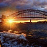 Harbour Bridge Sunset By Kaye Menner Poster