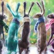 Hares With Scarves Poster