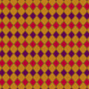 Harlequin Gold Purple Coral Poster