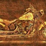 Harley Davidson Classic Bike, Original Golden Art Print For Man Cave Poster