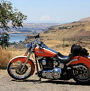 Harley With Columbia River And Mt Hood Poster