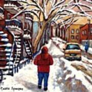 Winter Walk After The Snowfall Best Montreal Street Scenes Paintings Canadian Artist Paysage Quebec Poster