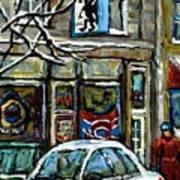Achetez Les Meilleurs Scenes De Rue Montreal St Henri Cafe Original Montreal Street Scene Paintings Poster