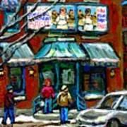 Achetez Les Meilleurs Scenes De Rue Montreal Boulangerie St Viateur Original Montreal Street Scenes  Poster