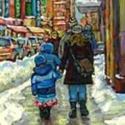 Exceptional Canadian Artist Winter Scene Paintings Downtown Montreal Achetez Scenes De Quebec  Poster