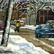 Canadian Artist Winter Scenes Original Paintings Quebec Streets Achetez  Montreal Art Online Poster