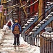 Canadian Art Winter Streets Original Paintings Verdun Montreal Quebec Scenes Achetez Les Meilleurs Poster