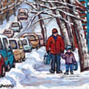 Paysages De Verdun Quebec A Vendre Original Verdun Montreal Winter Staircase Street Scene Paintings  Poster