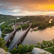 Harpers Ferry National Historical Park Maryland Heights Sunset Poster