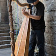 Harpist Street Musician, Barcelona, Spain Poster