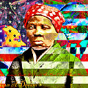 Harriet Tubman Martin Luther King Jr Malcolm X American Flag 20160501 Text Poster