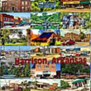 Harrison Arkansas Collage Poster by Kathy Tarochione