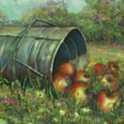 Harvest With Red Apples Poster