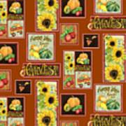 Harvest Market Pumpkins Sunflowers N Red Wagon Poster