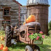 Harvest Time Vintage Farm With Pumpkins Poster
