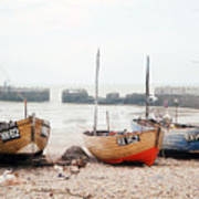 Hastings England Beached Fishing Boats Poster