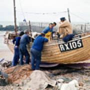 Hastings England Fishermen On Boat Poster
