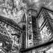 Haunted Church In Black And White Poster