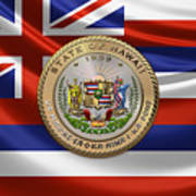 Hawaii Great Seal Over State Flag Poster