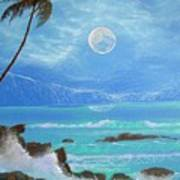 Hawaii Night Seascape Poster