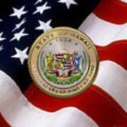 Hawaii State Seal Over U.s. Flag Poster