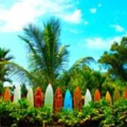 Hawaii Surfboard Fence Photograph  Poster by Michael Ledray