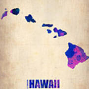 Hawaii Watercolor Map Poster by Naxart Studio