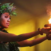 Hawaiian Dancer And Firepots Poster