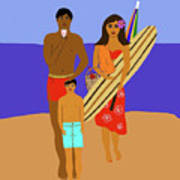 Hawaiian Family Beach Scene Poster