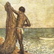 Hawaiian Fisherman Painting Poster