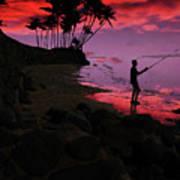Hawaiian Fishing On Halama Beach At Sunset Poster