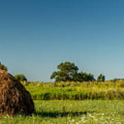 Hay Bale On A Rural Field Poster