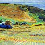 Hay Harvest On The Coast Poster
