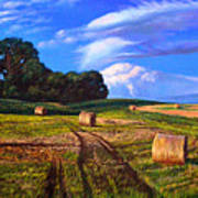 Hay Rolls On The Farm By Christopher Shellhammer Poster