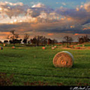 Haybales At Dusk Poster by Melinda Swinford
