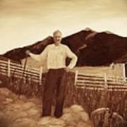 Haymaker With Pitchfork Vintage Poster