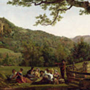 Haymakers Picnicking In A Field Poster