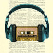 Blue Headphone And Yellow Cassette Collage Print Poster