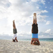 Headstand On Beach Poster